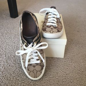 Coach Signature Lesley sneakers, Khaki/chestnut